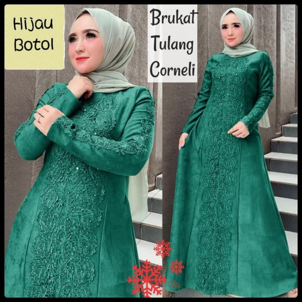 12AJT12 Promo Terbaru! Gamis pesta jumbo linda hijau botol xxl baju muslim  murah mx jum vt