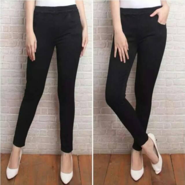 Celana Legging Jeans Jumbo Wanita Terbaru Celana Legging Pinggang Karet Jumbo Wanita Shopee Indonesia