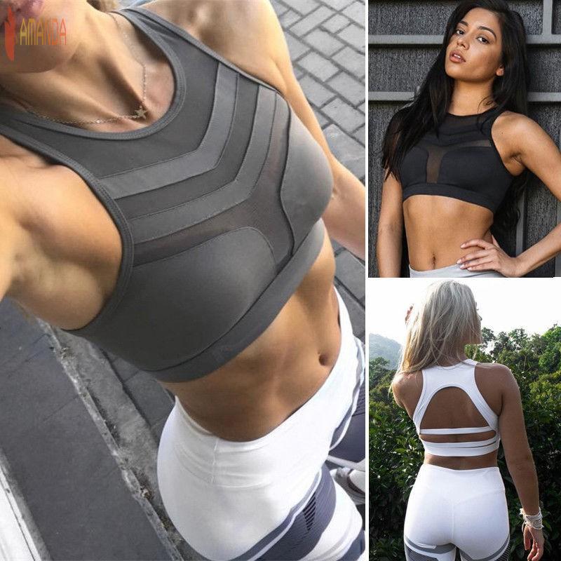 Women Seamless Racerback Sports Bra Yoga Workout Stretch Fitness Padded Tank Top