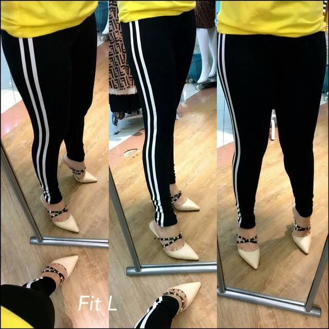 Celana Legging List Garis Putih Import Shopee Indonesia