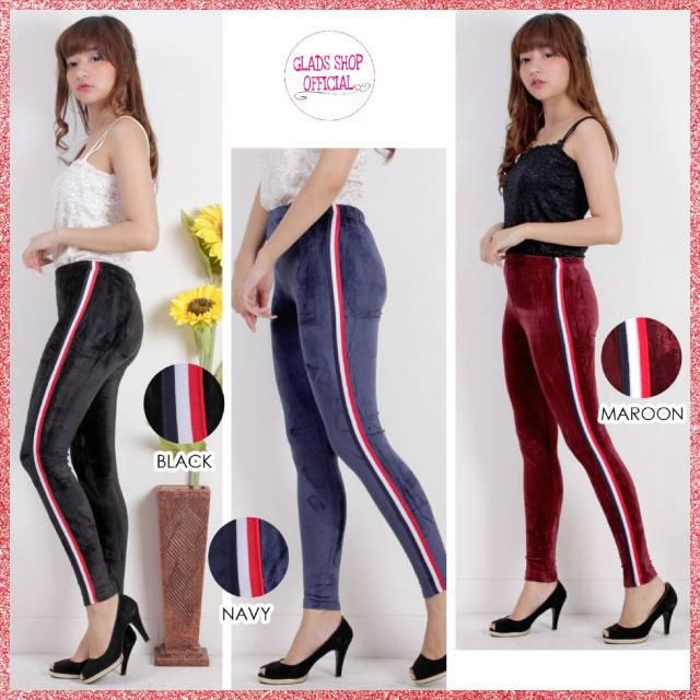 Celana Legging Wanita Bludru Import Legging Suede Celana Olahraga Senam Terlaris Shopee Indonesia