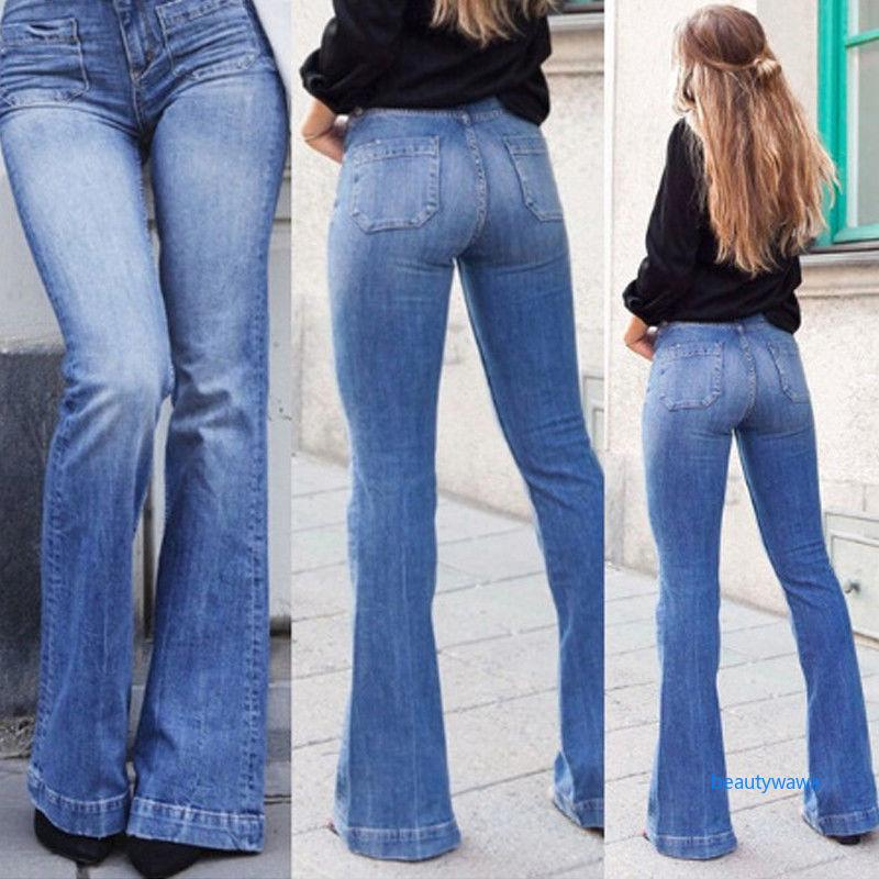 exquisite style cheap price release date ✿WA✿ Jeans Womens Vintage High Waist Flared Bell Bottom Light Denim 70s  Pants Skinny
