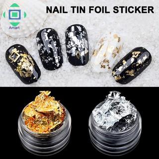 [Bayar Di Tempat]Stiker Foil Glitter Emas Silver 3D untuk Dekorasi Manicure DIY thumbnail