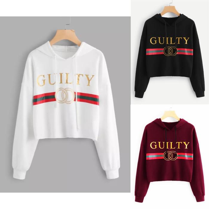 MichelleStore Sweater Wanita Crop Hoodie Alien Kombinasi - Tali | Shopee Indonesia