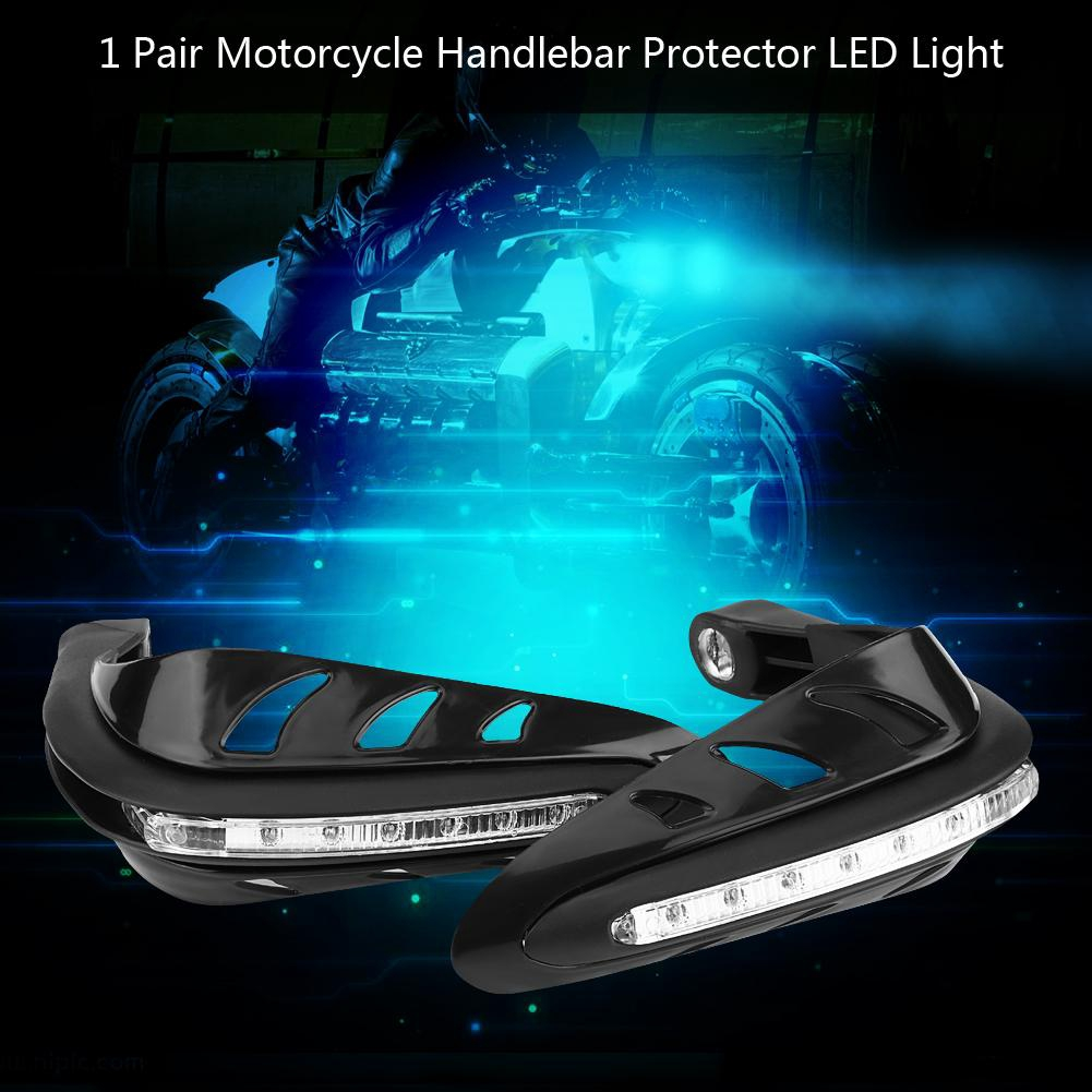 1Pair Universal Motorcycle Handguards Motorbike Hand Guards Handlebar Protector with LED Light
