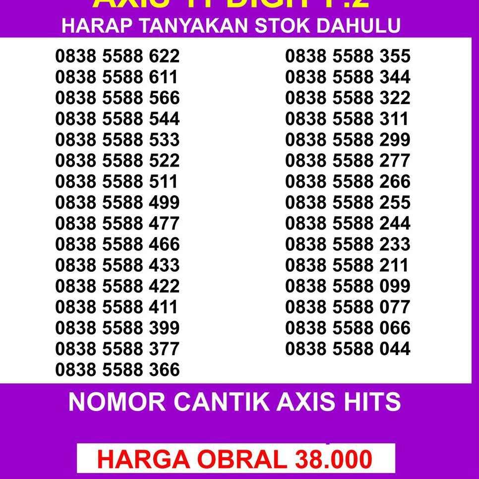 STAR SELLER Nomor Cantik Axis 11 Digit P.2 - Axis 11digit - Nomer Cantik Axis 11 Digit 0838 5588 xxx