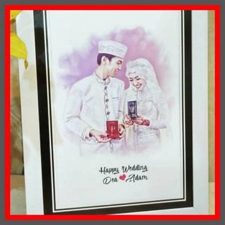 Kado Spesial Sketsa Wajah Kado Pernikahan Anniversary Couple
