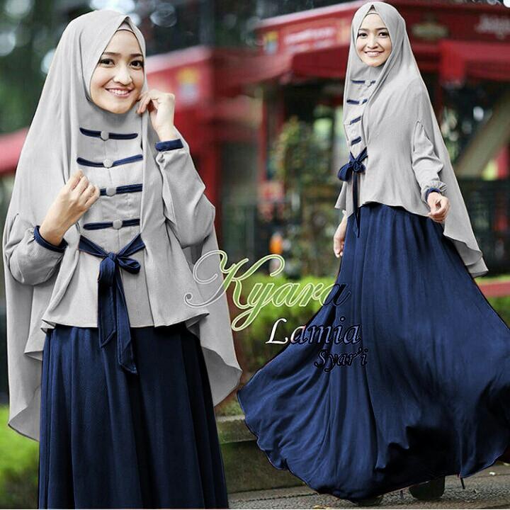 Gamis Syari Hijab Jilbab Pakaian Baju Muslim Wanita Lamia Navy Shopee Indonesia