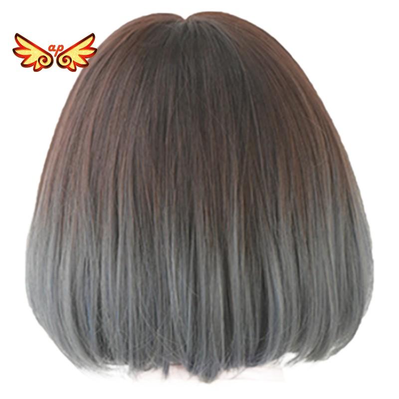 Wig Rambut Sintetis Model Bob Pendek Warna Biru Ash Dengan Poni Untuk Wanita Shopee Indonesia