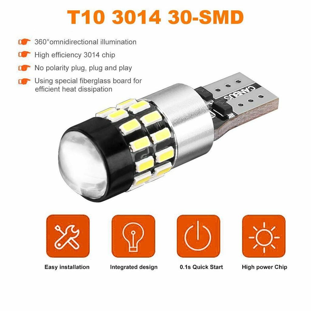 Lampu Led T10 30smd 3014 Canbus Super White 12v
