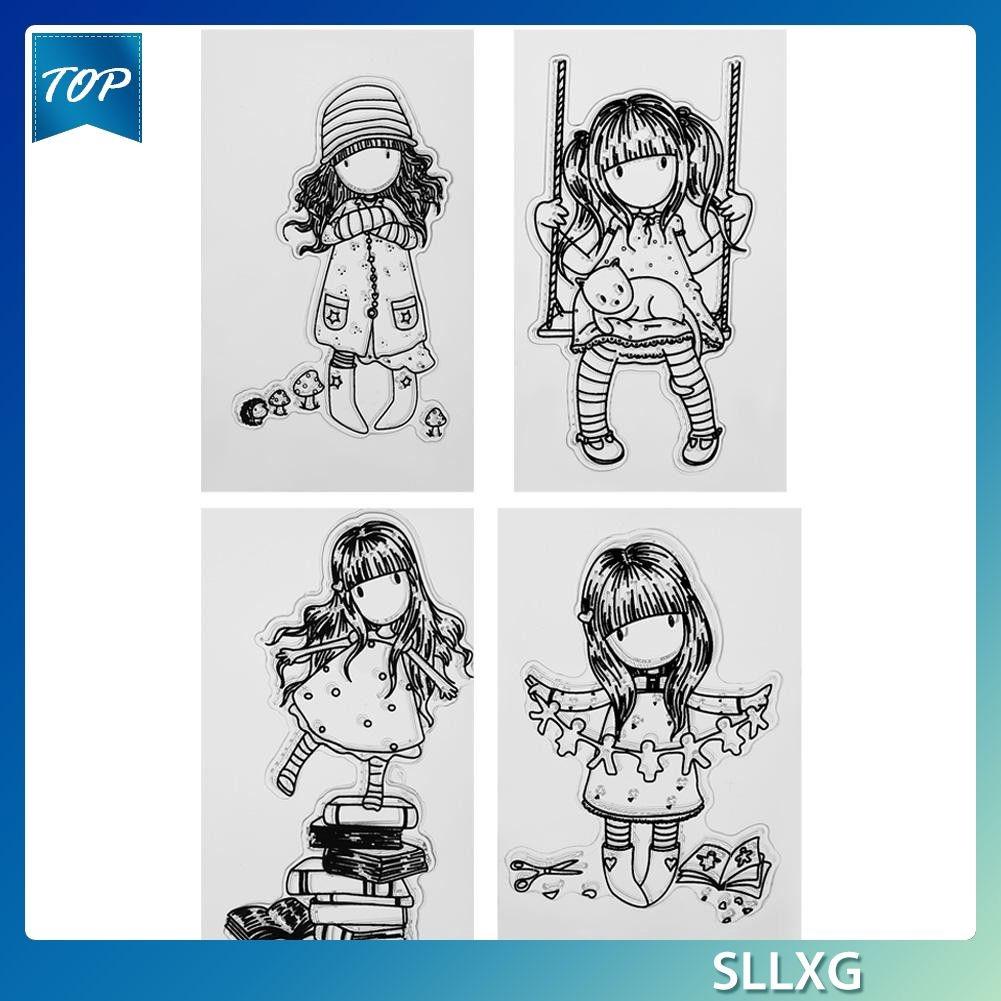 Lembaran Stempel Silikon Transparan Gambar Kartun Perempuan Untuk Album Foto DIY MK O