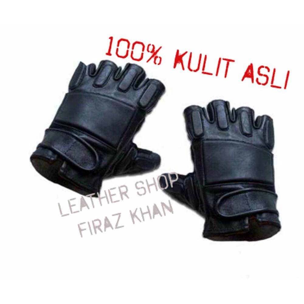 Sarung Tangan Kulit Asli Full Domba Shopee Indonesia Garut Half Protection Brown Best Seller