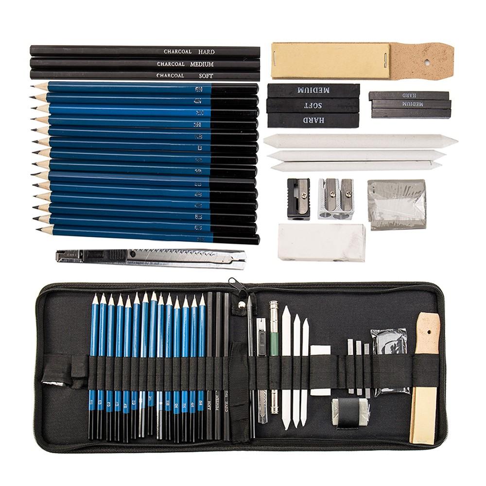 [Bayar Di Tempat]Willkey 36Pcs Set Pensil Warna Sketsa Dengan Case Resleting Untuk Seniman
