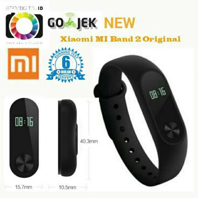 Xiaomi MI Band 2 OLED Original Black Versi Internasional Global Gatansi 6 Bulan
