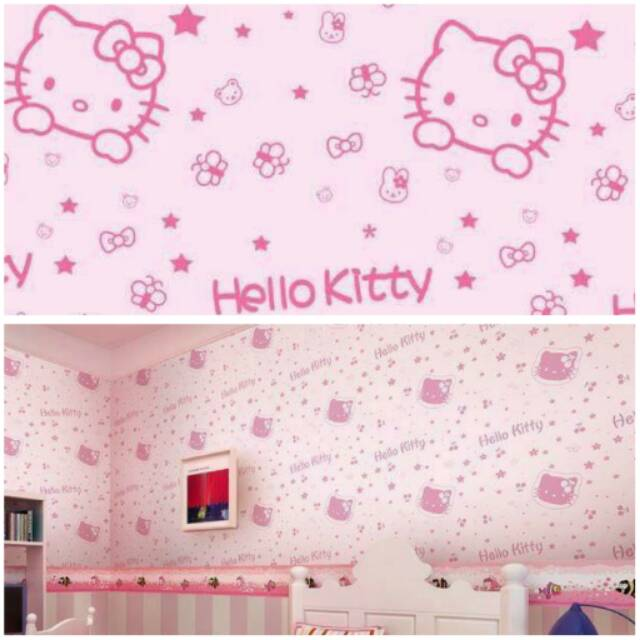 wallsticker hello kitty puddle (70x50) | shopee indonesia