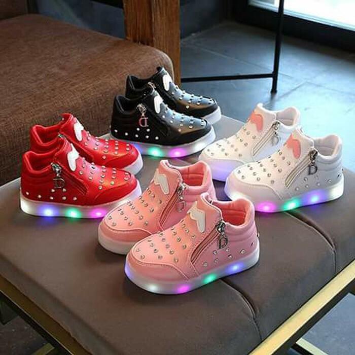 Sepatu Anak Perempuan Emmis Lampu Led Size 26 30 Usia 2 4 Tahun