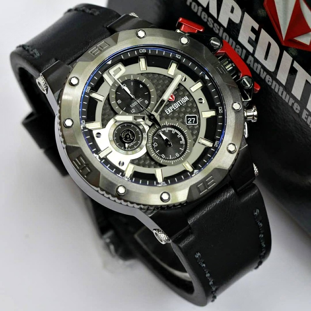 Expedition Pria E6755 Leather Black Original Garansi 2 Tahun Jam Tangan E6715 Limited Edition Shopee Indonesia