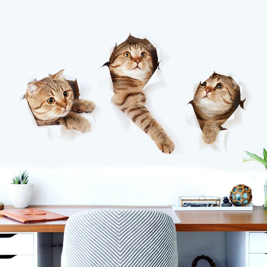 [Bayar Di Tempat] Stiker Dinding Desain Kucing 3D Untuk Dekorasi Rumah