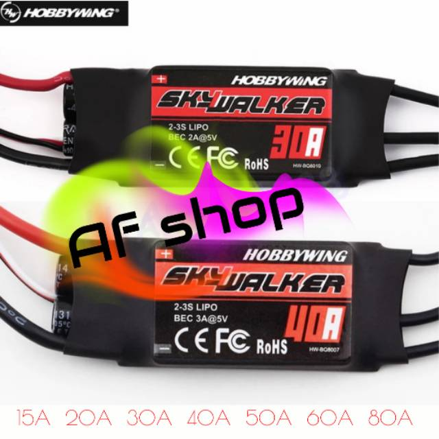 Hobbywing SkyWalker BEC 2-3S Lipo Speed Controller 20A //15A Brushless ESC for RC