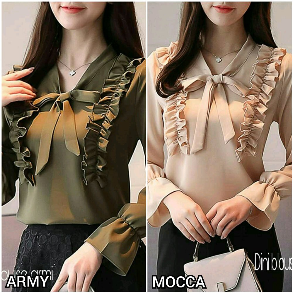 Blouse  Blouse Luna Navy Lengan Panjang SW  blouse wanita rayon bangkok  navy  64bc051352