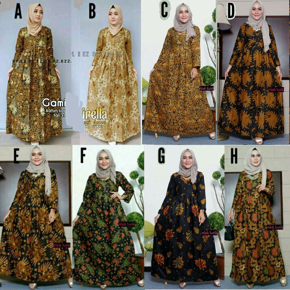 Baju Gamis Batik Rempel Maxidress