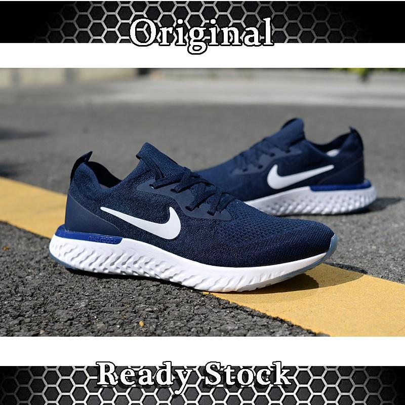 e313bd68bcd9 ... Sepatu Sneakers Desain Nike Epic react Flyknit Warna Biru Navy Ukuran  36-44 ...