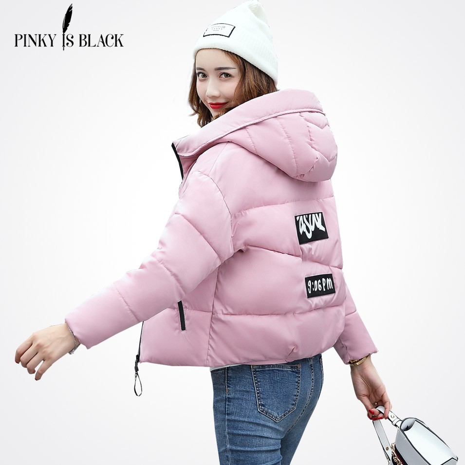 2017 Musim Dingin berkerudung merah muda Jaket wanita kuning empuk panjang  mantel wanita lengan  c1ce06b461
