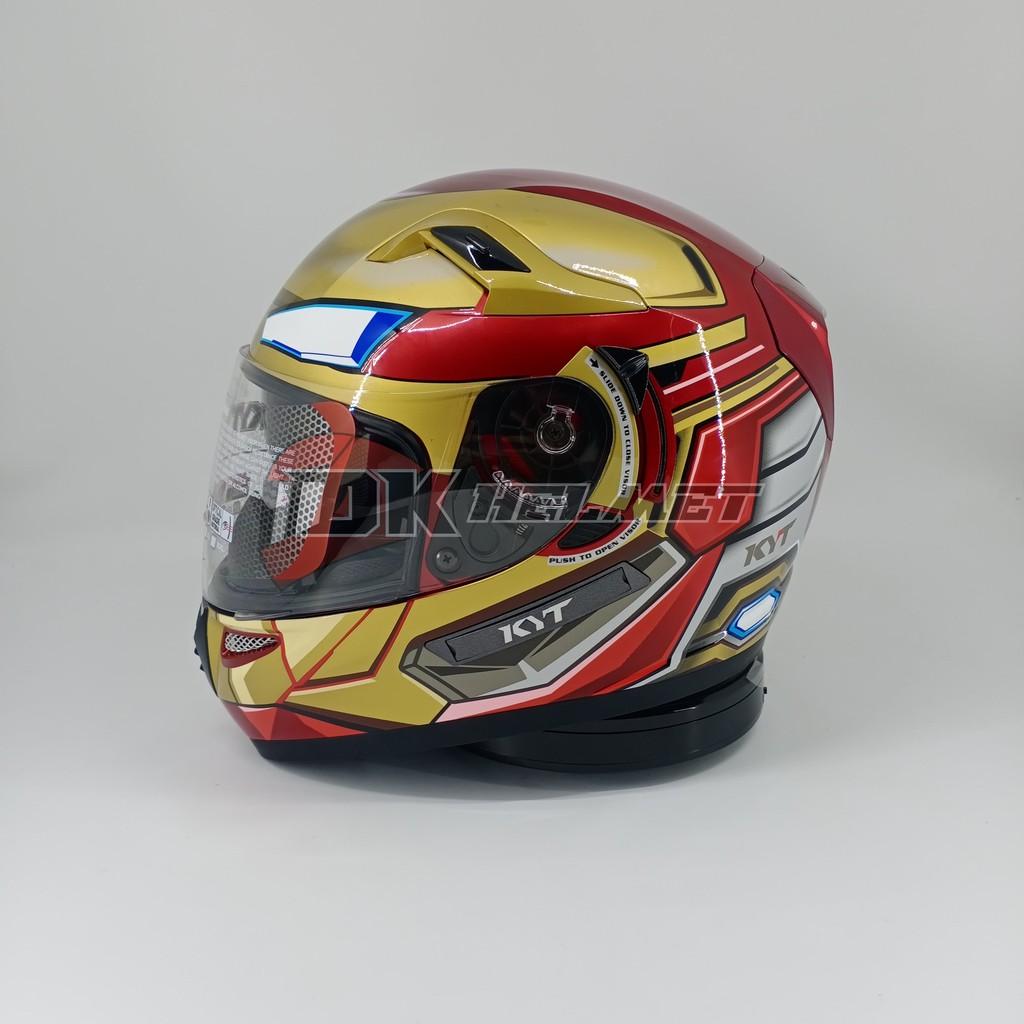 Helm Full Face KYT K2R K2 Rider Motif Marvel Edition Iron Man Red Maroon Gold Double Visor Terbaru