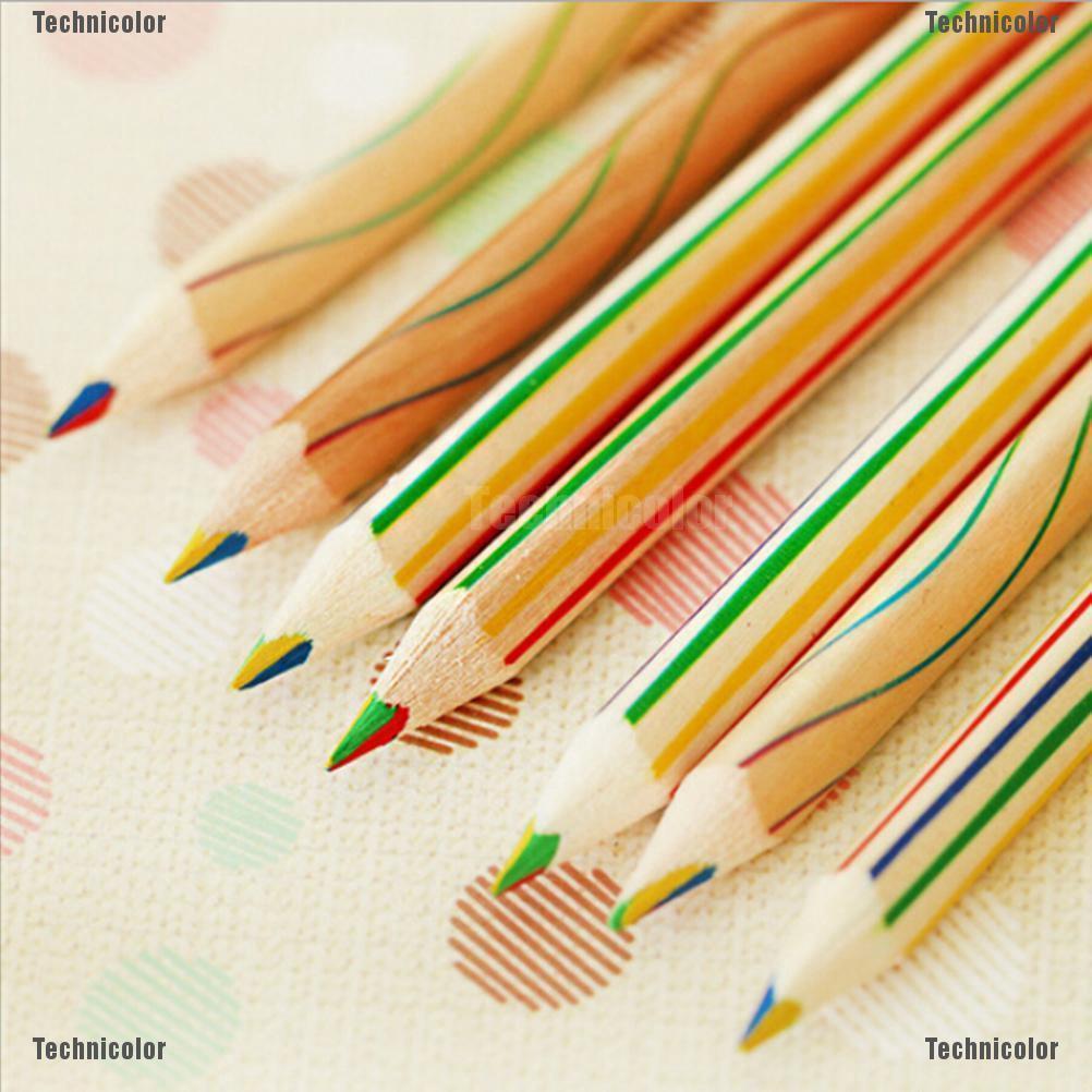 Murah [Bayar Di Tempat]Pensil Warna Pelangi 4 In 1 Keperluan Pensil Gambar Mewarnai