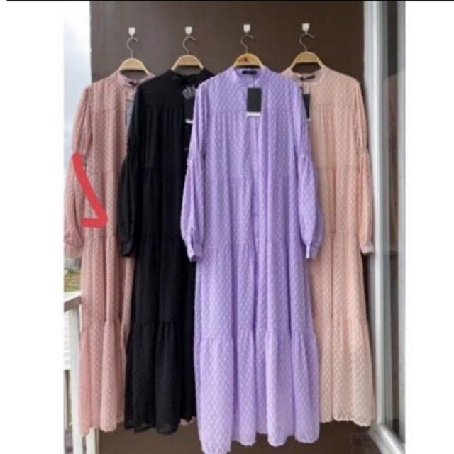 Dress Gamis Hazel, Dress LFY, Gamis Import Premium (Pink)