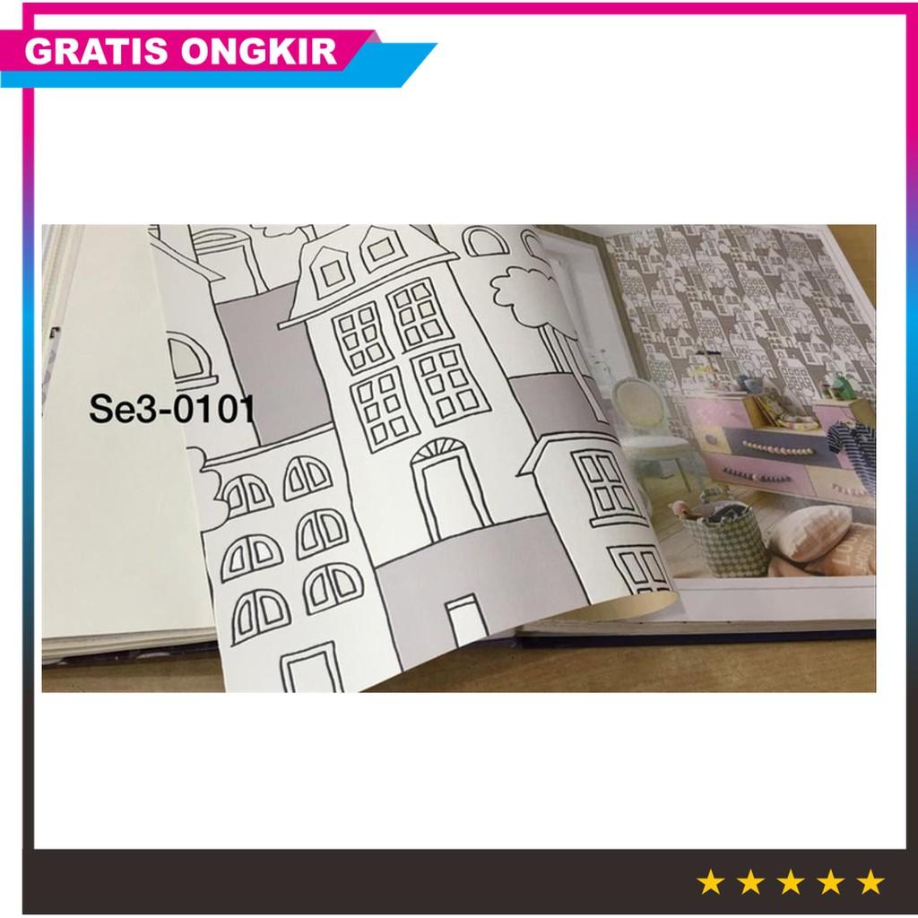 Ready Wallpaper Dinding Anak Motif Gedung Warna Warni Murah