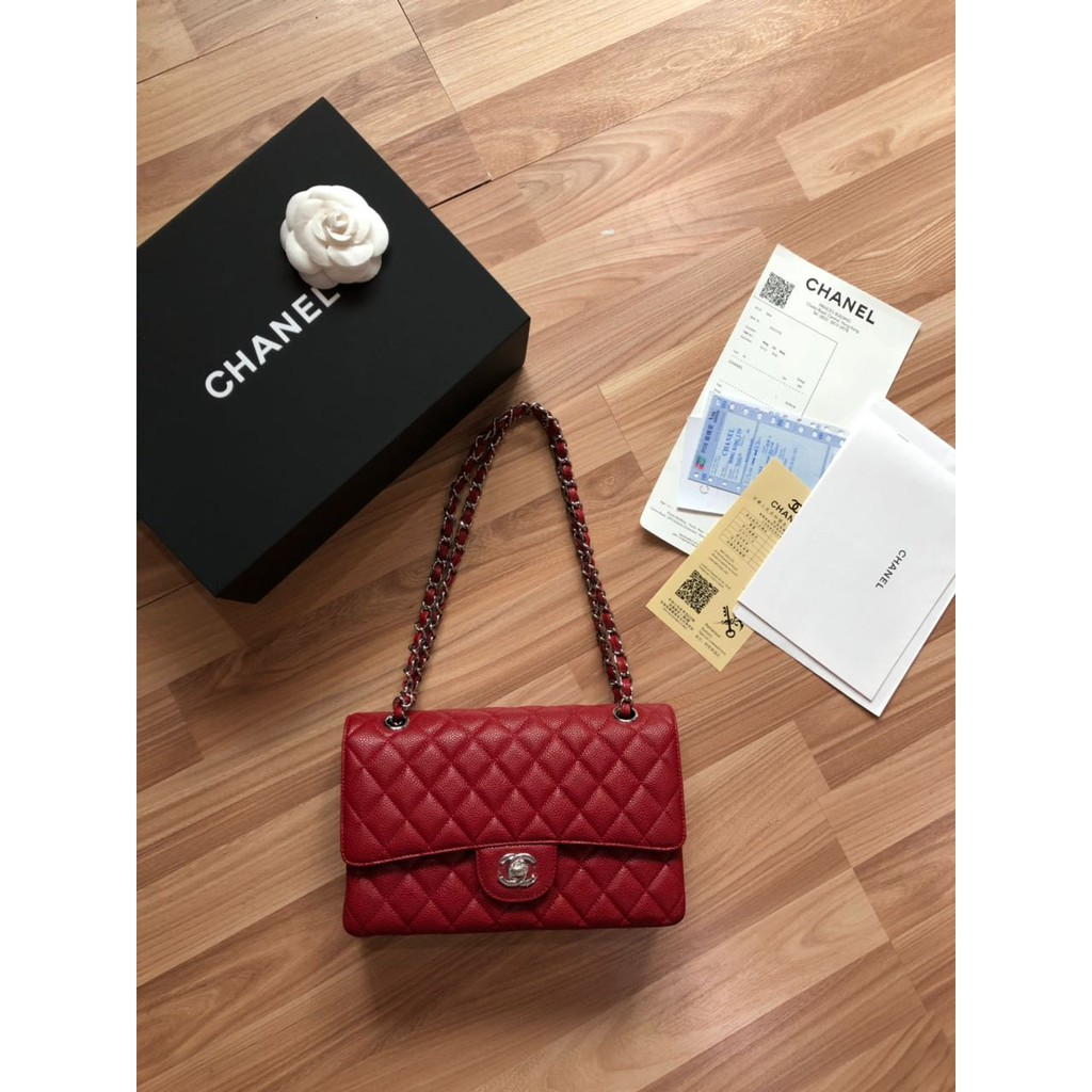 6b02c1076c9041 Tas Chanel Classic 25 Double Flap Caviar Quilted SHW MERAH Mirror 2018    Shopee Indonesia