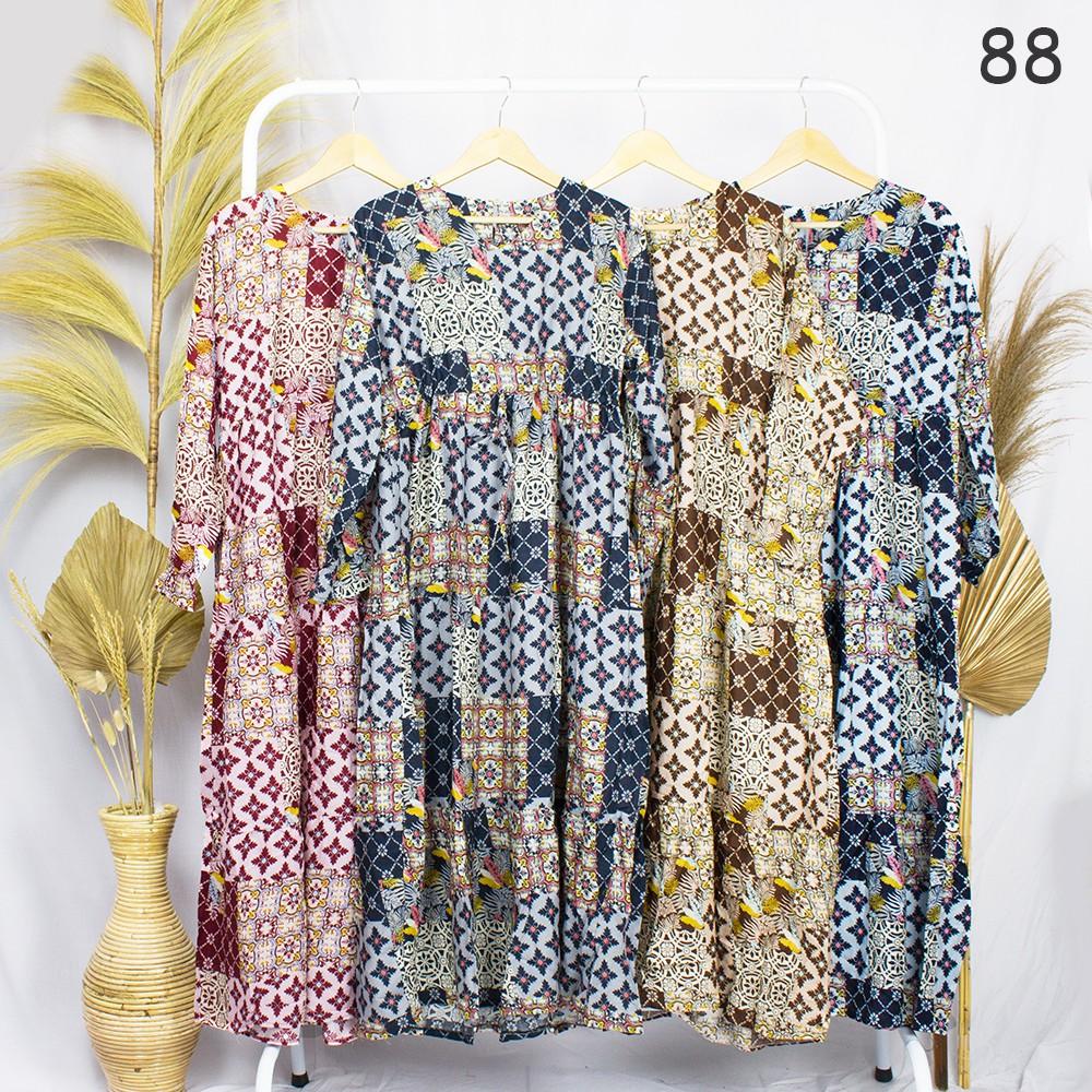 [JakartaFashion] gamis batik motif etnik serut depan katun adem tribal  edisi lebaran fit XL ld 10