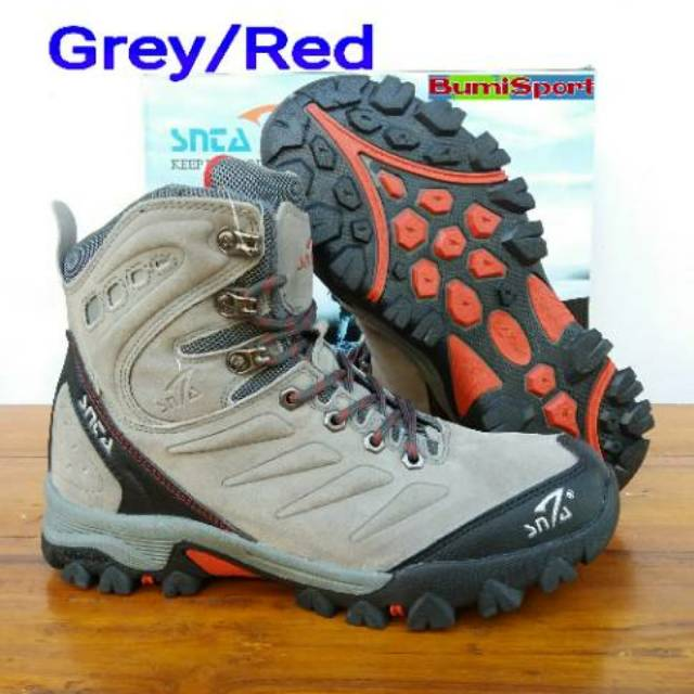 825800fa697 Sepatu gunung snta 477 grey/red trekking/hiking/adventure/outdoor/keta