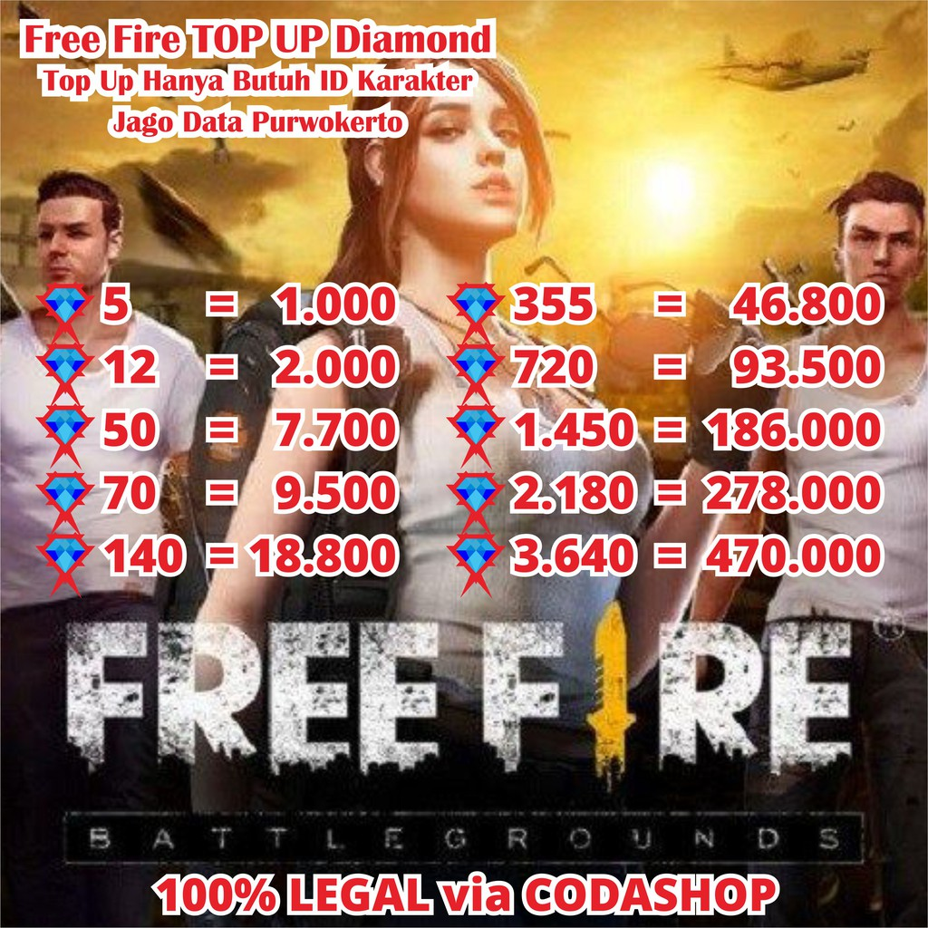 TOP UP FREE FIRE GAME DIAMOND