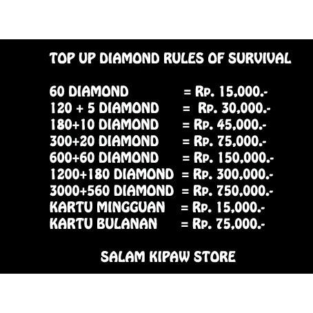 Top Up Diamond Rules Of Survival Termurah Ios Dan Android Shopee
