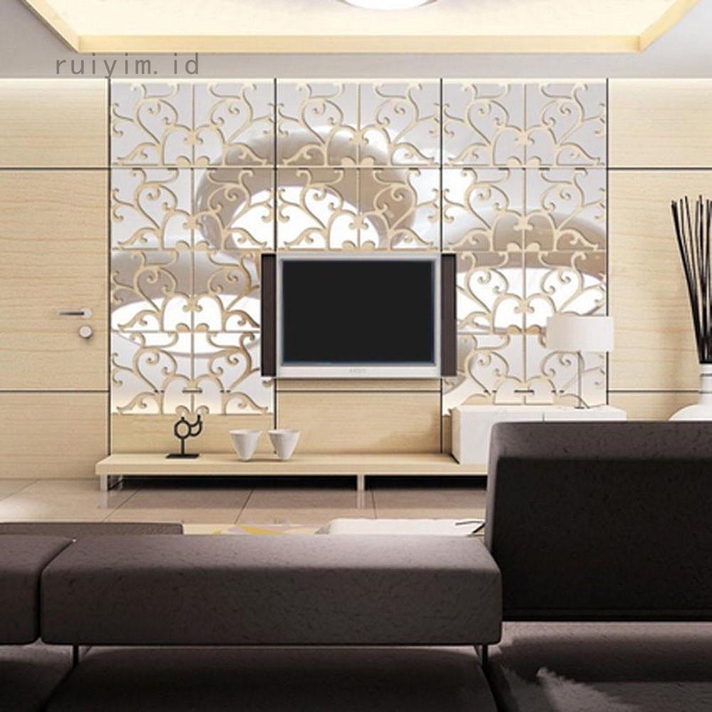 Ruiyim Stiker Dinding Model Cermin Dengan Bahan Akrilik Dan Gambar Kombinasi Warna Hijau