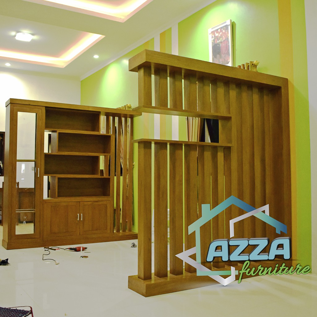 Set Partisi Minimalis Kayu Jati Perhutani Penyekat Ruangan Minimalis Modern Shopee Indonesia