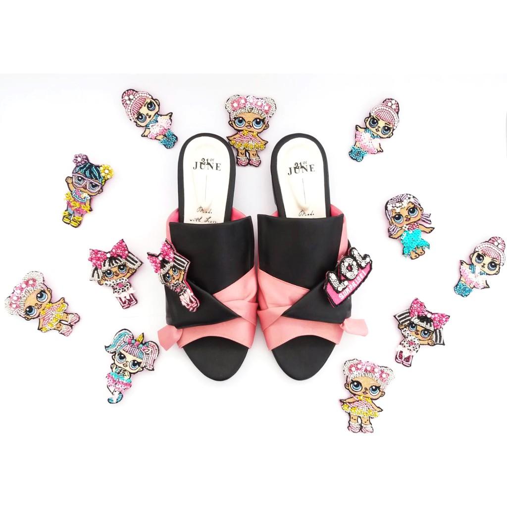 Amazara Cynthia Pink Mules Shopee Indonesia Emily Black Hitam 39