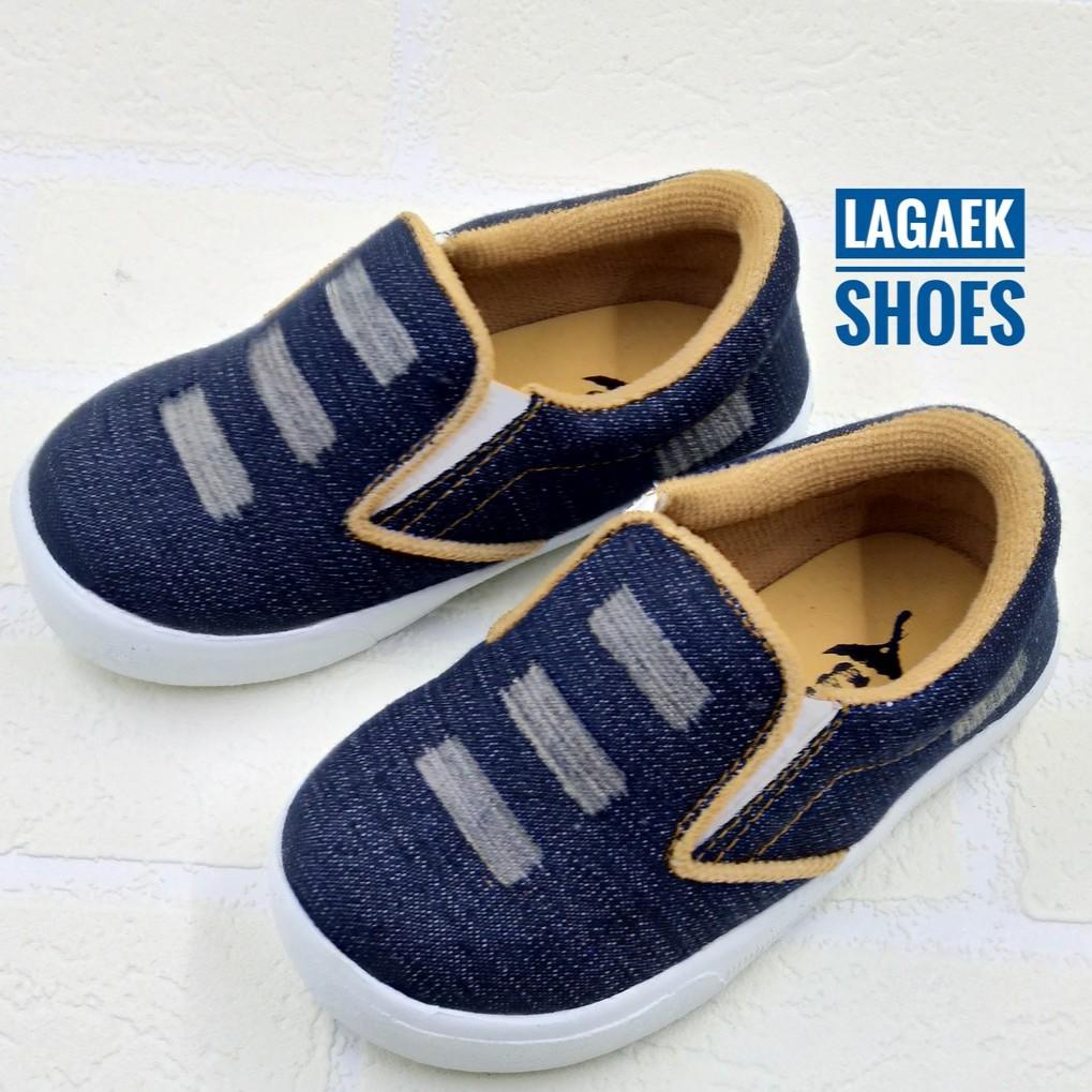 Sepatu Anak Jeans Warna Navy Motif Sobek Usia 1 2 3 4 5 6 Tahun
