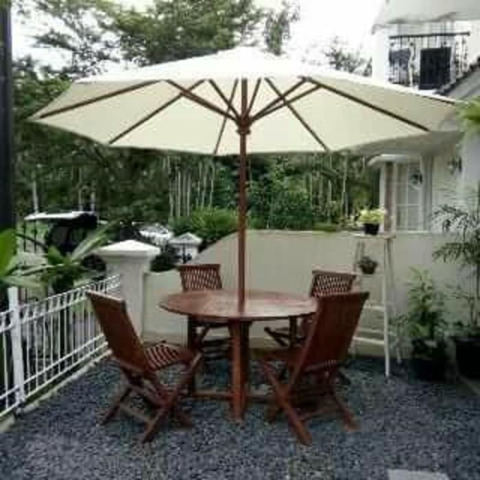 Meja Kursi Payung Jati Solid Cafe Pantai Hotel Outdoor Shopee Indonesia