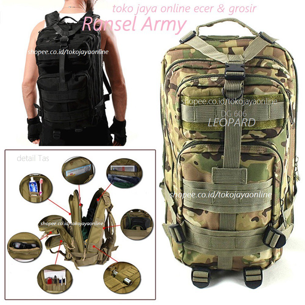 New Tas Ransel Punggung Backpack Army Militer 3p Tactical Hijau Dg 606 Leopard Military Trekking Sport Travel Rucksacks Bag Shopee