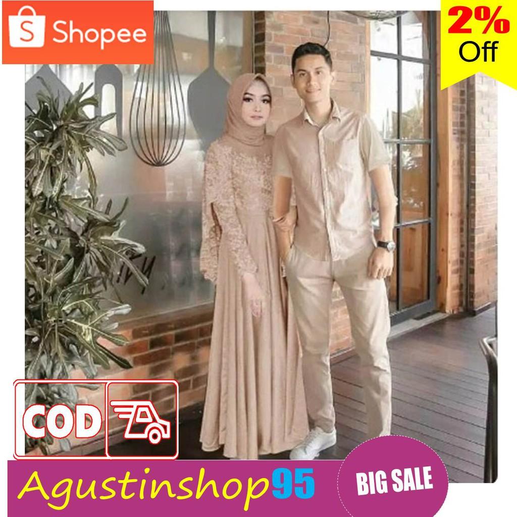 Baju Gamis Couple Pasangan Lebaran 2020 Sarimbit Seragam Keluarga Family Muslim Modern Terbaru G02 Shopee Indonesia