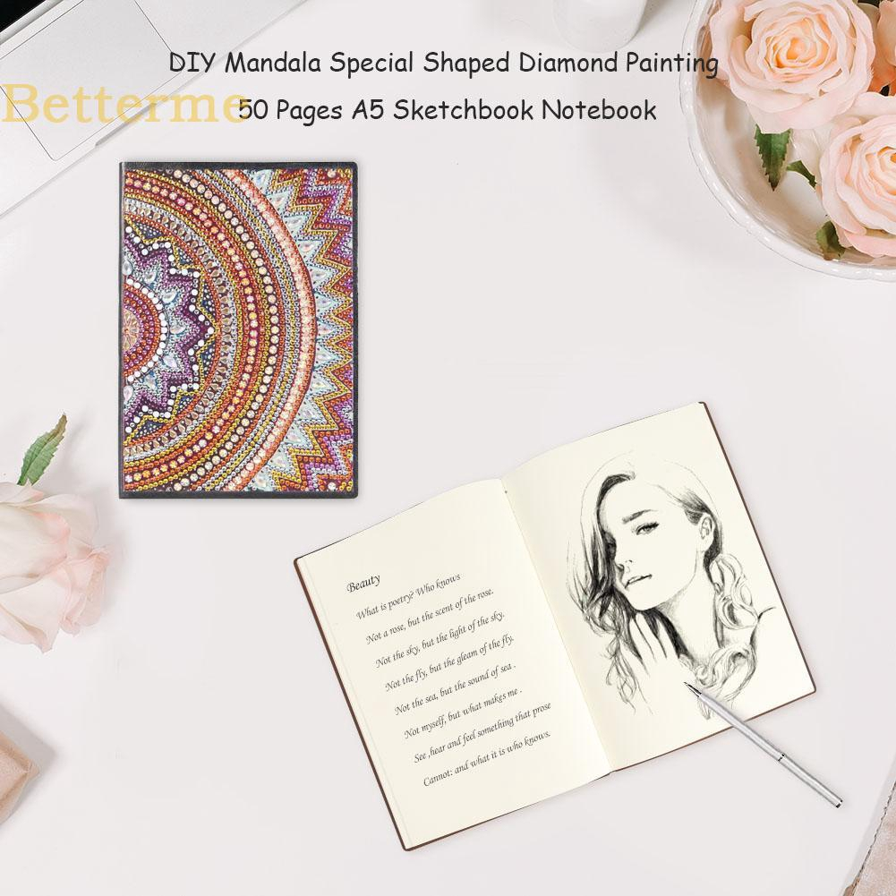 ♡Home Life♡ DIY Mandala Special Shaped Diamond Painting 50 Pages Sketchbook A5 Notebook✿