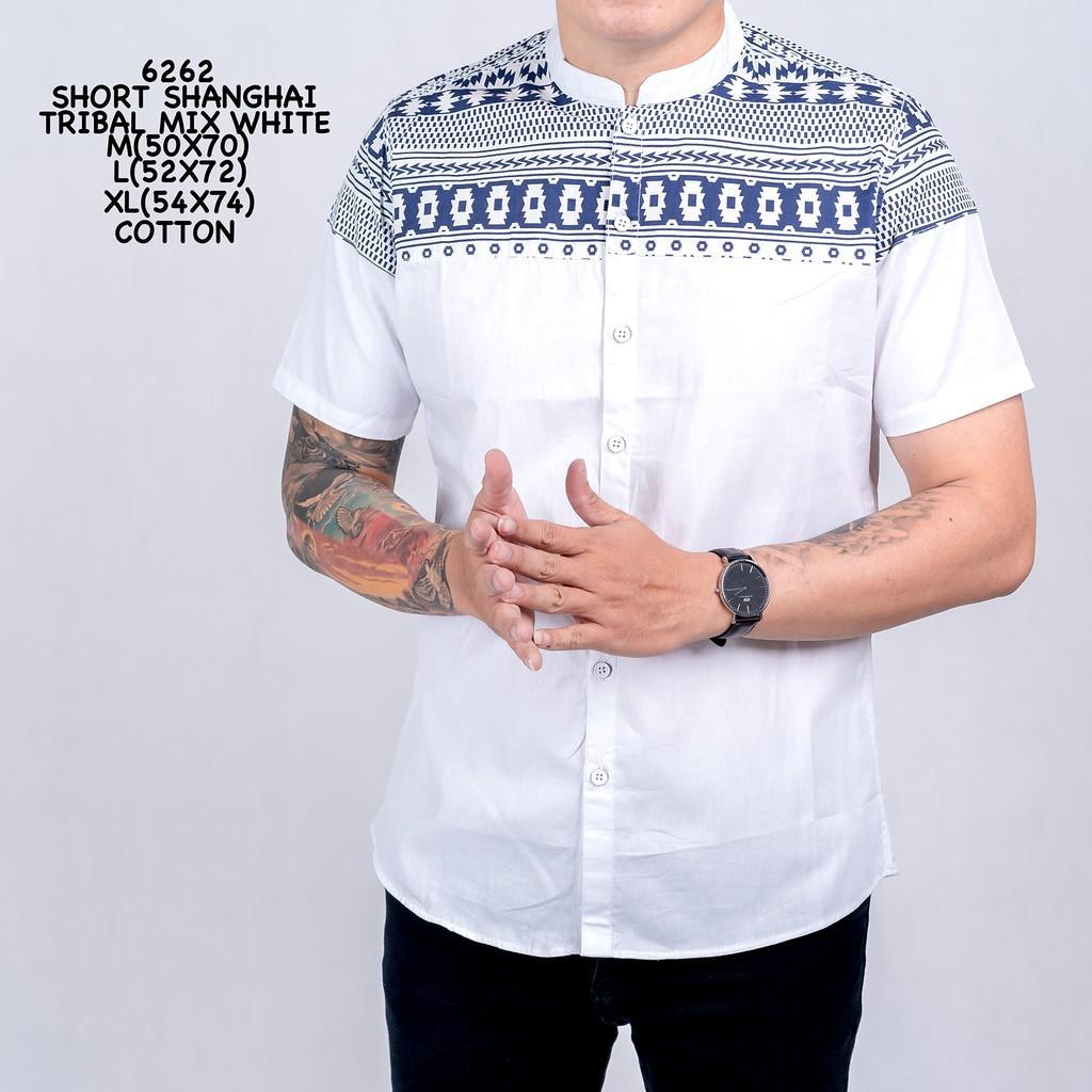 3098 Kemeja Pria Lengan Pendek Short Coffee Mix White Simple Murah | Shopee Indonesia