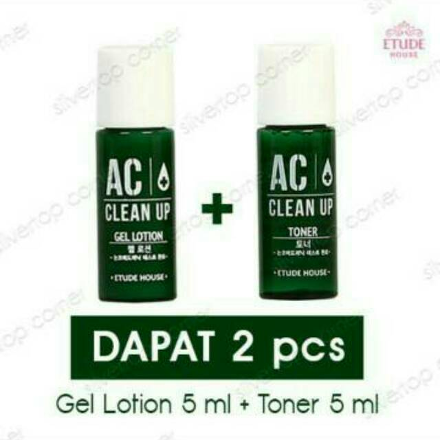 ETUDE HOUSE AC CLEAN UP TONER 1 5 ML + GEL LOTION 15 ML travel size