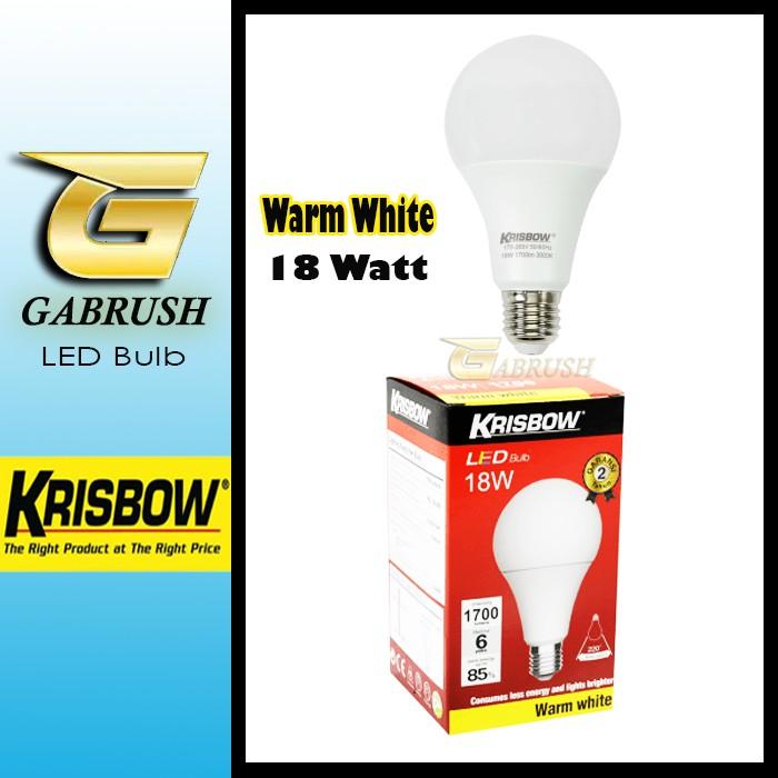 Led Bulb 18w Warm White Krisbow Lampu Bohlam Putih Kuning Shopee Indonesia