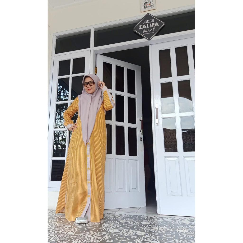 Baju Muslim Wanita - Dress Aliya - Gamis ZALIFA - Kuning list krem