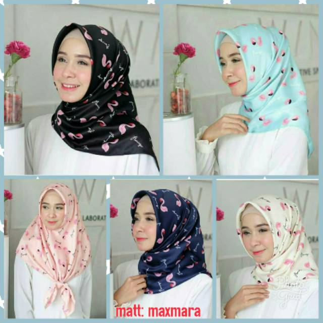 Jilbab Segiempat Motif Flamingo Maxmara Square Shopee Indonesia