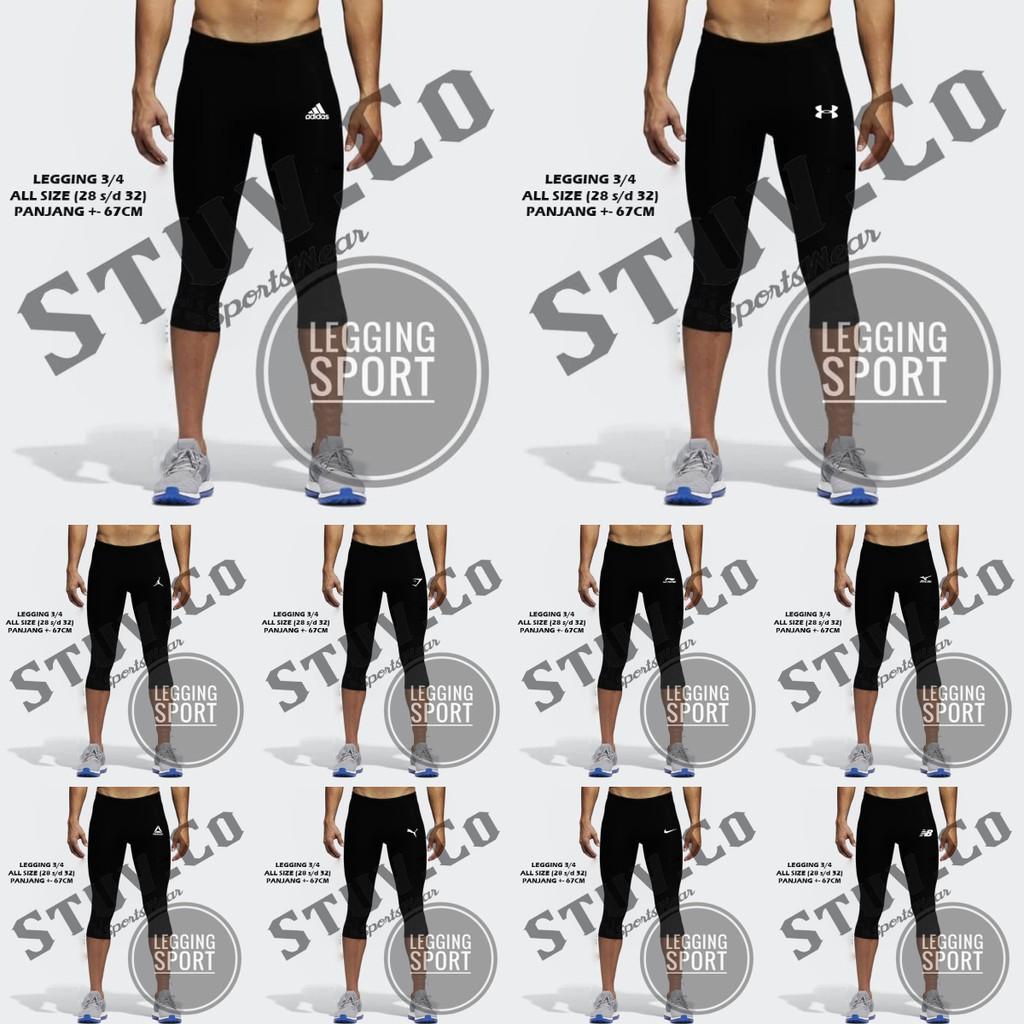 Celana Legging Pendek Baselayer Olahraga Gym Fitness Futsal Renang Jogging Lari Voli Pria Wanita Shopee Indonesia